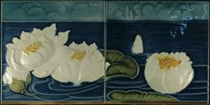 Boizenburg - 2 Art Nouveau tiles with water lilies
