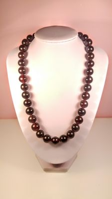 Vintage Cherry colour Round modified beads Baltic Amber necklace, length 51 cm