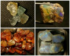Collection of natural crystals opal,amber, moonstone & aquamarine - 220 ct