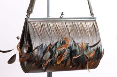 Teheux - Teheux handmade evening bag, cowhide and feathers