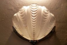 Producer unknown - wall light, chrome fixture with frosted pressed glass shell in Art Deco style