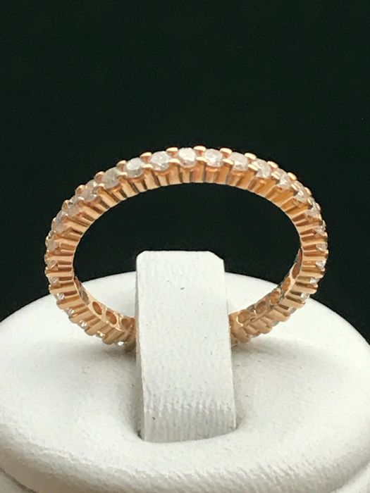 Eternity ring in 18 kt yellow gold, diamonds 1.02 ct - size 56/17.94 mm