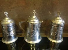 set of 3 silver plated metal containers Turkey mid-20th century