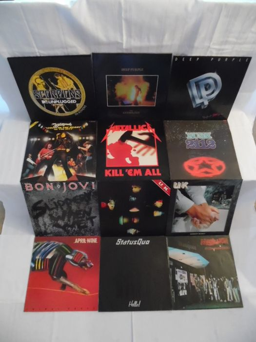 Nice Lot of 11 Albums & 1 Maxi in Hard-Rock & Heavy Metal - 16 Records - Scorpions ( 3 DBLP ) - Deep Purple ( 2 ) - Whitesnake - Metallica -