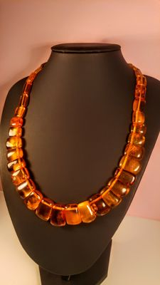 Vintage Cognac- ruby colour Baltic Amber necklace, length 55 cm, ca. 1960's