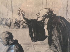 "Honoré Daumier (1808-1879) ""Le bon argument"" (The sound argument) 1850-1855 Justice people series"