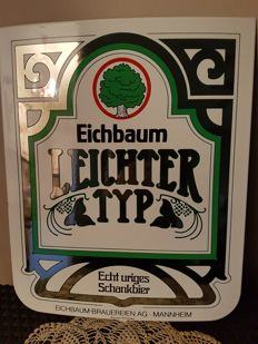 Very rare enamelled advertising sign for the German beer EICHBAUM Mannhein BOOS HA...