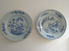 2 white & blue porcelain dishes decorated with flowers and scene China 18th century