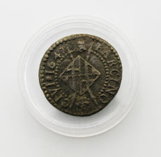 Spain - Bronze coin from Louis XIV, Barcelona - 1647