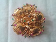18 kt gold brooch, with rubies, sapphires, 7 emeralds and 1 diamond