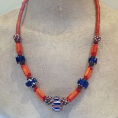 Necklace with 5 old chevron beads and venetian cornaline d'aleppo glass beads - Mali