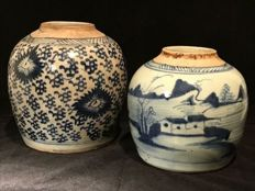 2 Porcelain Jars - China - 19th Century