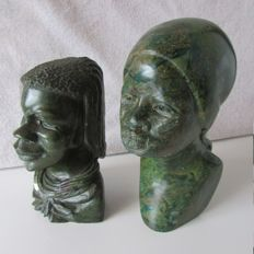 Two African carved stone sculptures (serpentine)