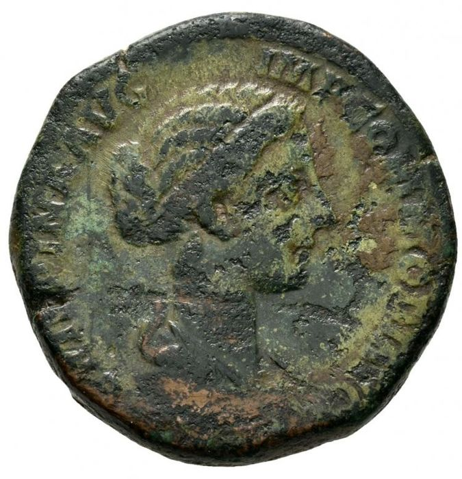 Roman Empire - Crispina (Commodus wife, 178-183 A.D.), bronze sestertius (23,63 g. 29 mm) from Rome mint, 180-182 A.D. SALVS.