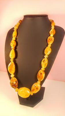 Vintage Italian style egg yolk colour Baltic Amber necklace, length 68 cm,  87 grams