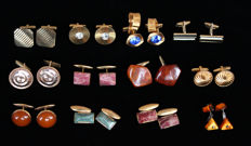 Collection of 12 pair of vintage cuff links, 1950-1980