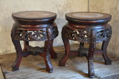 Pair fine large Hongmu stands with marble top - China - ca. 1920