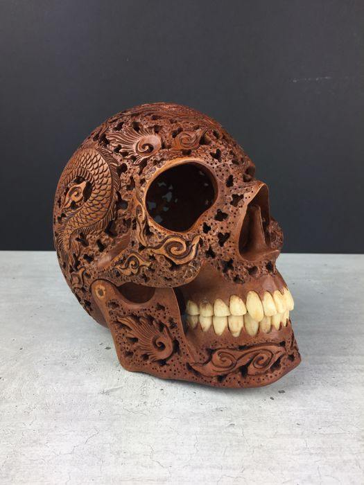 Hand carved human skull tribal style carving japanese