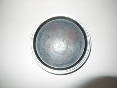 Canister container wood with silver pearl edge