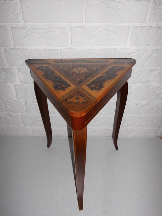 Italian Wooden Inlaid (marquetry) Triangular End Table With Built In Music  Box With A Wonderful Sound!