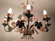 8-armed retro chandelier with grape leaf, completely restored