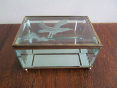 Display case with cut glass in copper frame - France - ca. 1950
