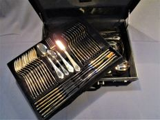 SBS LUXURY cutlery in case (genuine leather) - 12 people (70 pieces) - 23/24 carat hard gold-plated - 1000 fine gold