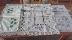 Three beautiful Tablecloths. Embroidery, a crochet lace.