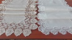 "Two beautiful Tablecloths, decorated with a ""guipure"" type of lace"