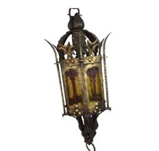 A lantern hanging lamp in Gothic style - circa 1960