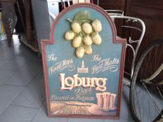 Original wooden sign Loburg beer - collector's item