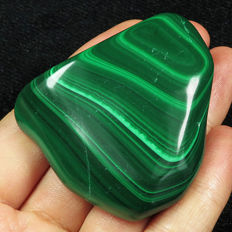 Top natural polished bull's eye malachite facet rough specimen - 51x43x19mm - 473,6ct
