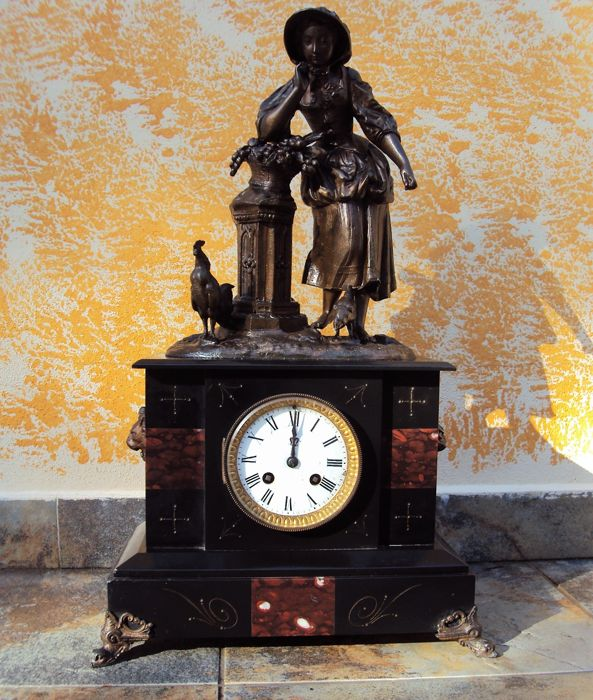 Large desk clock - France, 19th century - mechanism has silver medal mark, year 1855