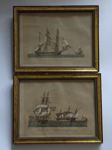 Jean-Jérôme Baugean (1764-1819) - Two engravings with maritime scene - Around 1800