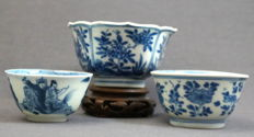 Collection of 3 bowls with unique decorations - China - around 1700, Kangxi period (1662-1722)