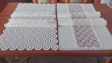 Two beautiful Tablecloths hand-decorated with a crocheted lace.