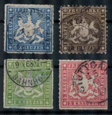 Württemberg - 1862/1865 - coat of arms - Michel numbers 21 + 30-32 -