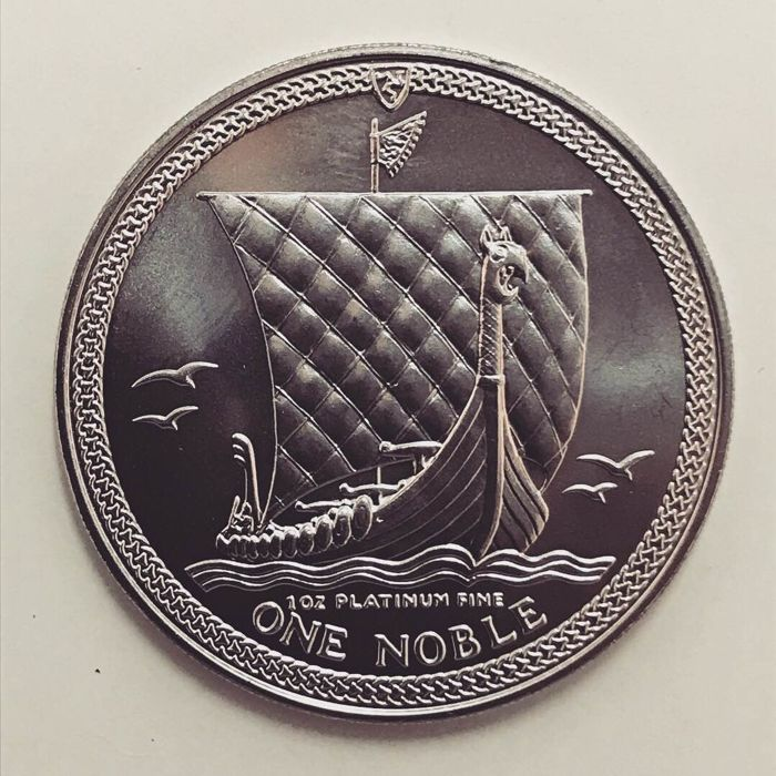 "Isle of Man - Noble 1985 ""Viking Ship"" Elizabeth II - 1 oz Platinum"