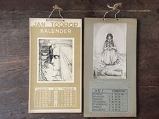 Jan Toorop; Lot with 2 calendars with his illustrations - 1936 / 1937