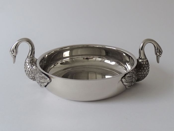 Silver plated dish with swans