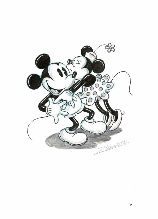 Vendetta Z Original Drawing Mickey Minnie Mouse The