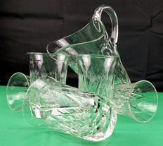 Saint Louis, Set of 6 pieces in cut and chiselled crystal, Duna Set no. 5369