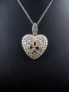 Victorian heart diamond pendant on gold chain