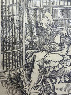 Master of Petrach [Hans Weiditz 1495-1537] - Illustrated post-incunabula leaf with fine woodcut - Caged Birds: Medieval Aviary, Parrot - 1532