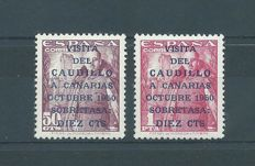 Spain 1950- Caudillo's visit to the Canary Islands, first issue with CMF report - Edifil 1083A/B