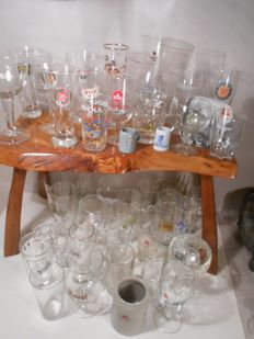 Collection of 60 mainly rare vintage and antique beer glasses