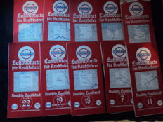 12x standard aerial image cards for drivers - Esso, Essolub - German - American oil company - 1920s/1930s