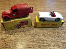 Dinky Toys-France - Scale 1/43 - Austin Healey 100 No.546 and Fire Van 2CV Citroën No.25d