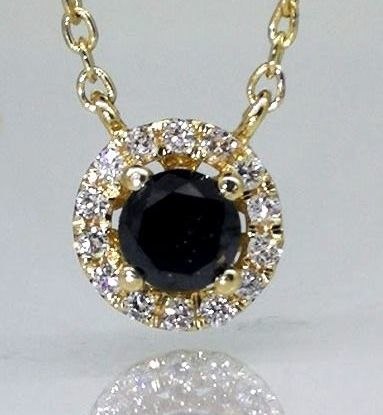 Pendant set with black diamonds & brilliants of 0.35 ct in total *** No minimum price***