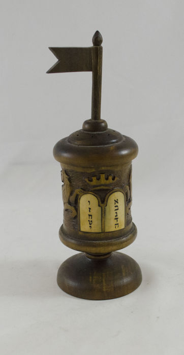 Judaica -Besamim Tower - Olive wood - Bone - 10 Commandments - Bezalel - Jerusalem - 20th century